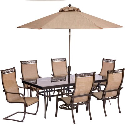 Monaco 7 Piece Dining Set with Umbrella and Stand