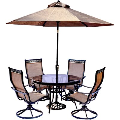 Monaco 5 Piece Dining Set with Table Umbrella and Umbrella Stand