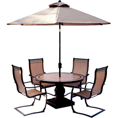 Monaco 5 Piece Outdoor Dinning Set with Table Umbrella