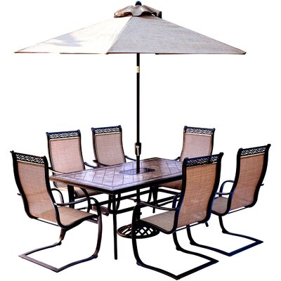 Monaco 7 Piece Dining Set with Table Umbrella and Umbrella Stand