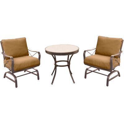 Rhonda 3 Piece Oil Rubbed Bronze Bistro Set with Cushions