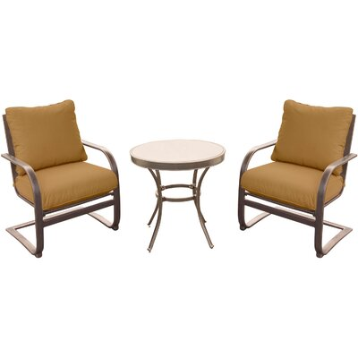 Rhonda 3 Piece Bistro Set with Cushions