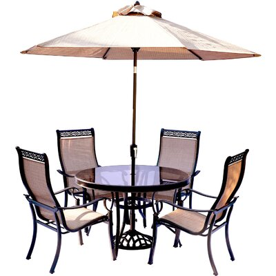 Monaco 5 Piece Dining Set with Table Umbrella and Base