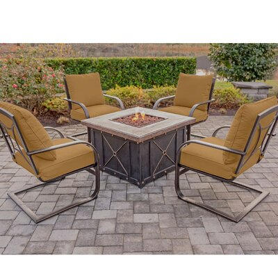 Summer Nights 5 Piece Fire Pit Set Seating Group with Cushion