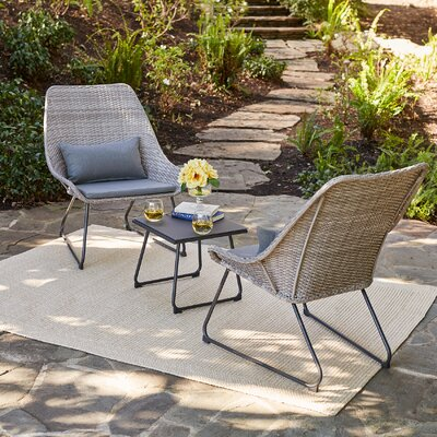 Wicker 3 Piece Lounge Seating Group with Cushion