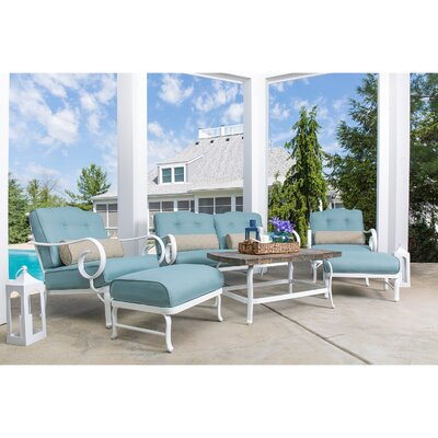 Oceana 6 Piece Deep Seating Group with Cushion Fabric: Blue