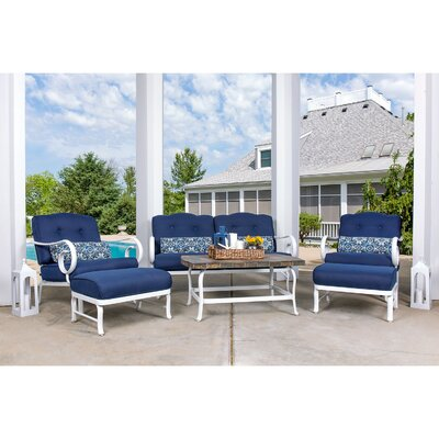 Oceana 6 Piece Deep Seating Group with Cushion Fabric: Navy