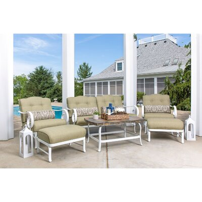 Oceana 6 Piece Deep Seating Group with Cushion Fabric: Vintage Meadow