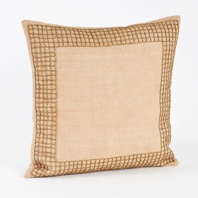 Pavel Beaded Design Woven Burlap Throw Pillow