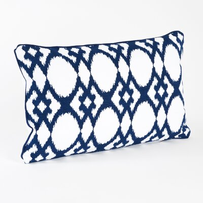Madelyn Ikat Design Ribbed Cotton Lumber Pillow Color: Navy Blue