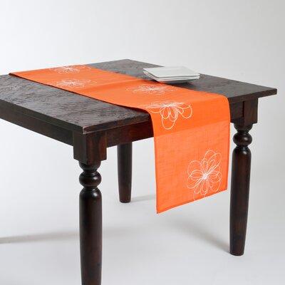 Jean Embroidered Flower Design Runner Color: Tangerine