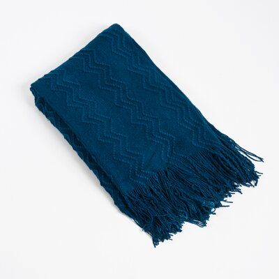 Knitted Zigzag Design Throw Blanket Color: Navy Blue