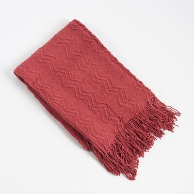 Knitted Zigzag Design Throw Blanket Color: Rose