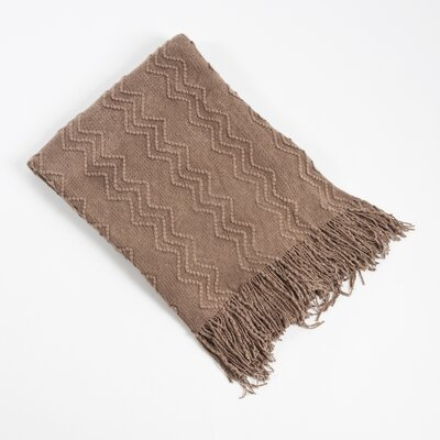 Knitted Zigzag Design Throw Blanket Color: Shiitake