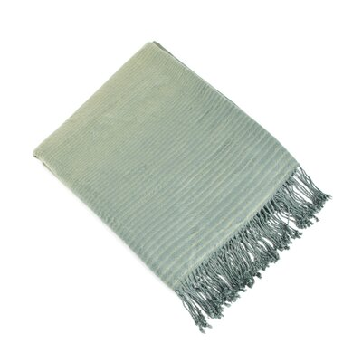 Striped Design Bamboo Rayon Throw Color: Grass