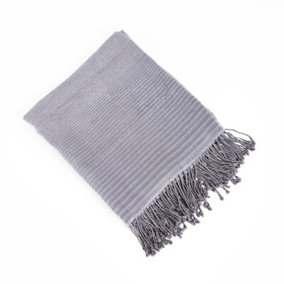 Striped Design Bamboo Rayon Throw Color: Grey