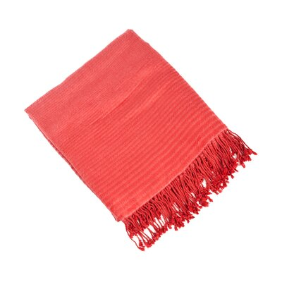 Striped Design Bamboo Rayon Throw Color: Rouge