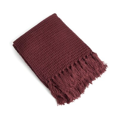 Waffle Weave Design Throw Color: Plum