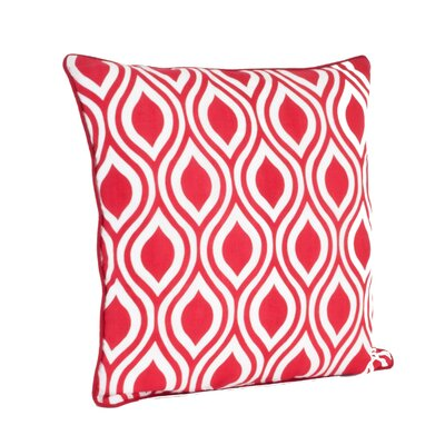 Teardrop Design Printed Throw Pillow Color: Red