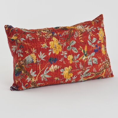 Printed Cotton Throw Pillow Size: 14 H x 23 W x 5 D, Color: Red