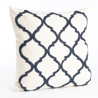 Livera Moroccan Beaded Cotton Throw Pillow Color: Navy Blue