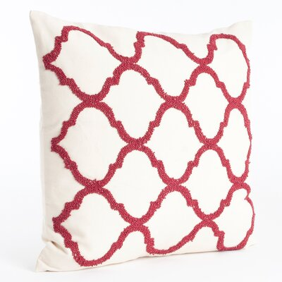 Moroccan Beaded Cotton Throw Pillow Color: Red