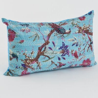 Printed Cotton Throw Pillow Size: 14 H x 23 W x 5 D, Color: Turquoise