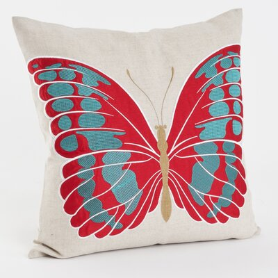 Embroidered and Appliqu� Throw Pillow Color: Red