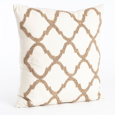 Moroccan Beaded Cotton Throw Pillow Color: Champagne