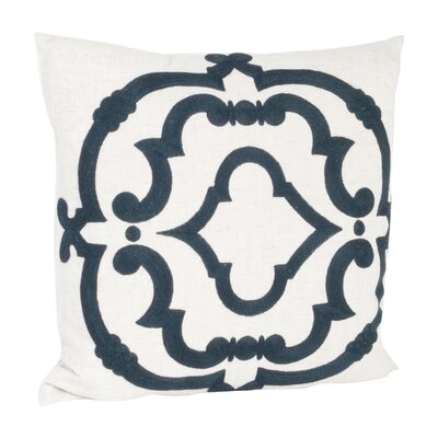Manosque Embroidered Design Throw Pillow Color: Navy Blue & Off-White