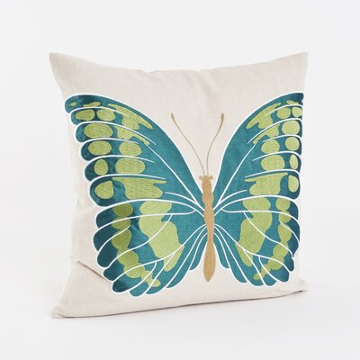 Embroidered and Appliqu� Throw Pillow Color: Teal