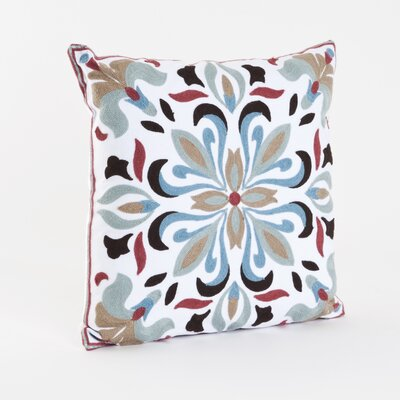 Crewel Work Cotton Throw Pillow Color: Aqua