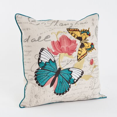 Printed and Embroidered Throw Pillow
