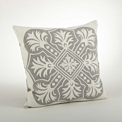 Gabriela Embroidered Cotton Throw Pillow Color: Gray