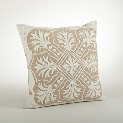 Gabriela Embroidered Cotton Throw Pillow Color: Natural