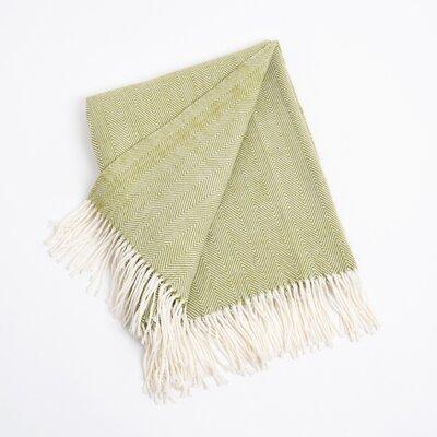 Saro Herringbone Throw Blanket - Color: Grass