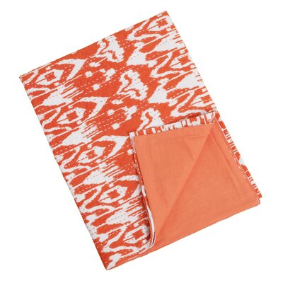 Ikat Kantha Stitches Cotton Throw Color: Tangerine