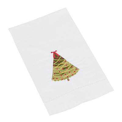 Christmas Hemstitched Xmas Tree Hand Towel