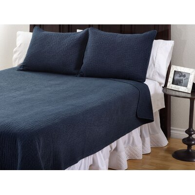 Quilt Set Size: Queen, Color: Navy Blue
