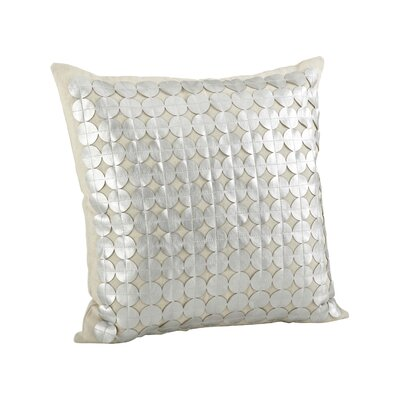 Amalia Circle Cutwork Cotton Throw Pillow Color: Silver