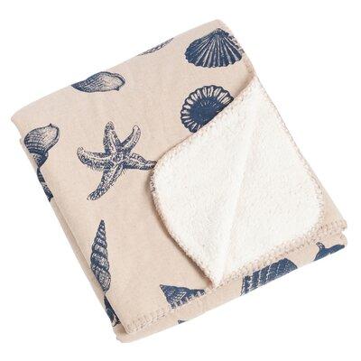 Key Largo Nautical Design with Sherpa Throw Blanket Color: Indigo