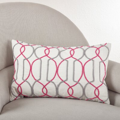 Cord Embroidered Cotton Lumbar Pillow Color: Sorbet