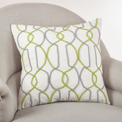 Cord Embroidered Cotton Throw Pillow Color: Chartreuse