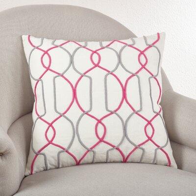 Cord Embroidered Cotton Throw Pillow Color: Sorbet