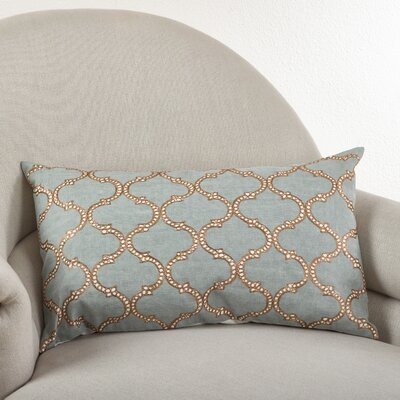 Lattice Design Cotton Lumbar Pillow Color: Blue Grey