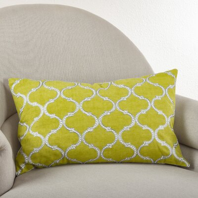 Lattice Design Cotton Lumbar Pillow Color: Chartreuse