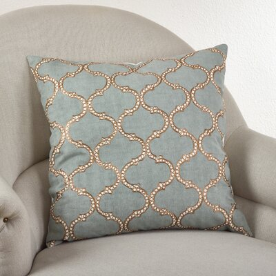 Lattice Design Cotton Throw Pillow Color: Blue Grey