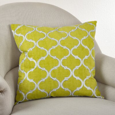 Lattice Design Cotton Throw Pillow Color: Chartreuse