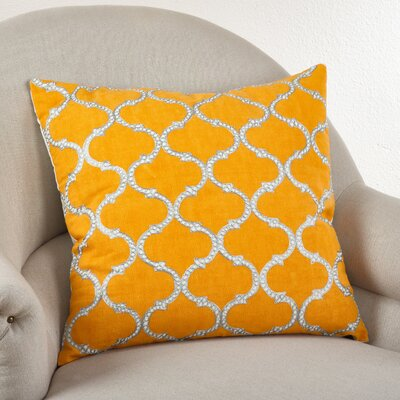 Lattice Design Cotton Throw Pillow Color: Marigold