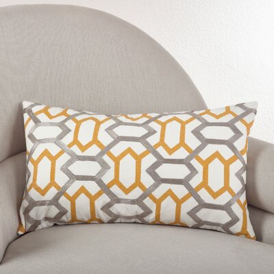 Stitched Design Cotton Lumbar Pillow Color: Mustard